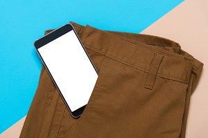 smart phone in men pant pocket