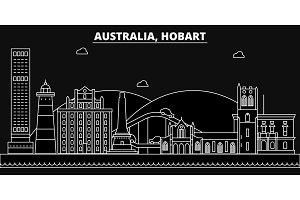 Hobart silhouette skyline. Australia - Hobart vector city, australian linear architecture, buildings. Hobart travel illustration, outline landmarks. Australia flat icons, australian line banner