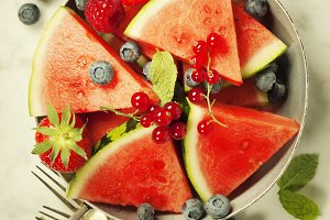 Watermelon, berries, fruits