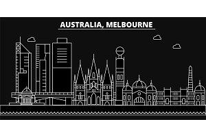 Melbourne silhouette skyline. Australia - Melbourne vector city, australian linear architecture. Melbourne line travel illustration, landmarks. Australia flat icons, australian outline buildings