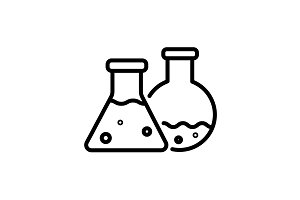 Web line icon. Laboratory flasks