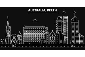 Perth silhouette skyline. Australia - Perth vector city, australian linear architecture, buildings. Perth travel illustration, outline landmarks. Australia flat icons, australian line banner