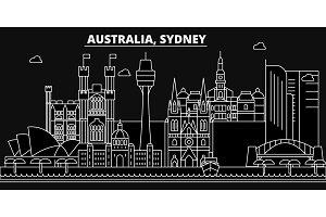 Sidney silhouette skyline. Australia - Sidney vector city, australian linear architecture, buildings. Sidney line travel illustration, landmarks. Australia flat icons, australian outline design banner