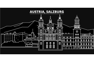 Salzburg silhouette skyline. Austria - Salzburg vector city, austrian linear architecture, buildings. Salzburg travel illustration, outline landmarks. Austria flat icons, austrian line banner