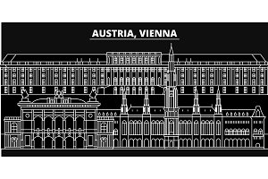 Vienna city silhouette skyline. Austria - Vienna city vector city, austrian linear architecture, buildings. Vienna city travel illustration, outline landmarks. Austria flat icons, austrian line banner