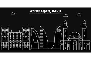 Baku silhouette skyline. Azerbaijan - Baku vector city, azerbaijani linear architecture, buildings. Baku line travel illustration, landmarks. Azerbaijan flat icons, azerbaijani outline design banner