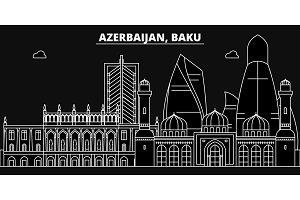 Baku silhouette skyline. Azerbaijan - Baku vector city, azerbaijani linear architecture, buildings. Baku travel illustration, outline landmarks. Azerbaijan flat icons, azerbaijani line banner