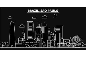 Sao Paulo silhouette skyline. Brazil - Sao Paulo vector city, brazilian linear architecture, buildings. Sao Paulo travel illustration, outline landmarks. Brazil flat icons, brazilian line banner