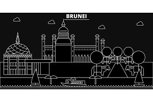 Brunei silhouette skyline, Brunei vector city, bruneian linear architecture, buildings, line travel illustration, landmarks, flat icons, bruneian outline design banner