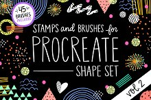 Procreate Stamp Shapes Set Vol.2 by Dani DiPirro in Brushes