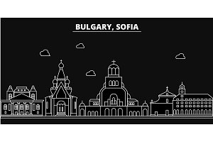 Sofia silhouette skyline. Bulgaria - Sofia vector city, bulgarian linear architecture, buildings. Sofia travel illustration, outline landmarks. Bulgaria flat icons, bulgarian line banner