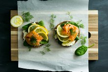 Salmon sandwich with rye bread