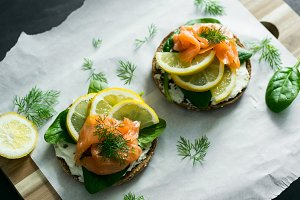 Salmon sandwich with rye bread