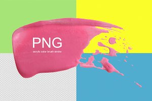 PNG acrylic color brush stroke.