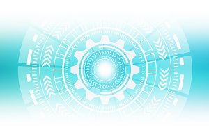 HUD. Abstract technology circles. Graphic design on white background, 3d illustration