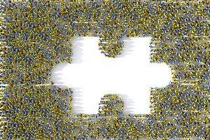 Large group of people forming a missing jigsaw puzzle piece, 3d illustration