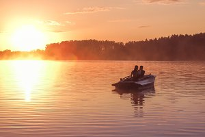 Romantic Couple Golden Sunset Lake