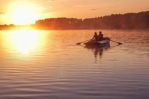 Romantic Couple Sunset Lake
