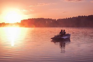 Romantic Couple Sunset Lake