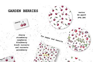 Fruits and berries pattern set