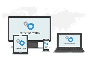 Concept  operating system on different devices