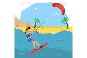 Vector kitesurfing girl concept