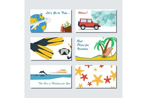 Six card template - summer vacation