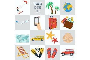 Travel vacation square 15 icons