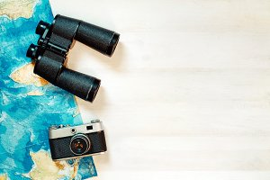 Traveler Accessories On White Wooden