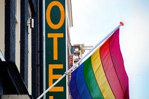 Hotel with The Rainbow Flag