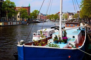 Old town canal, boats, Amsterdam.
