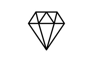 Web line icon. Diamond black