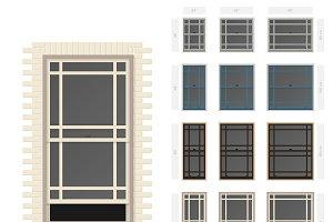 Single hung prairie windows set