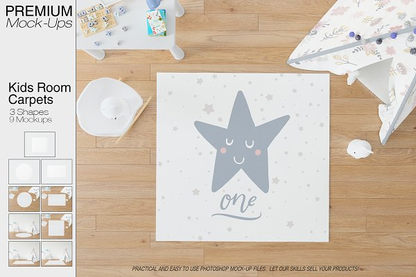 Carpets in Kids Room Pack PSD Mockup | 3d Logo Mockup PSD Template Free