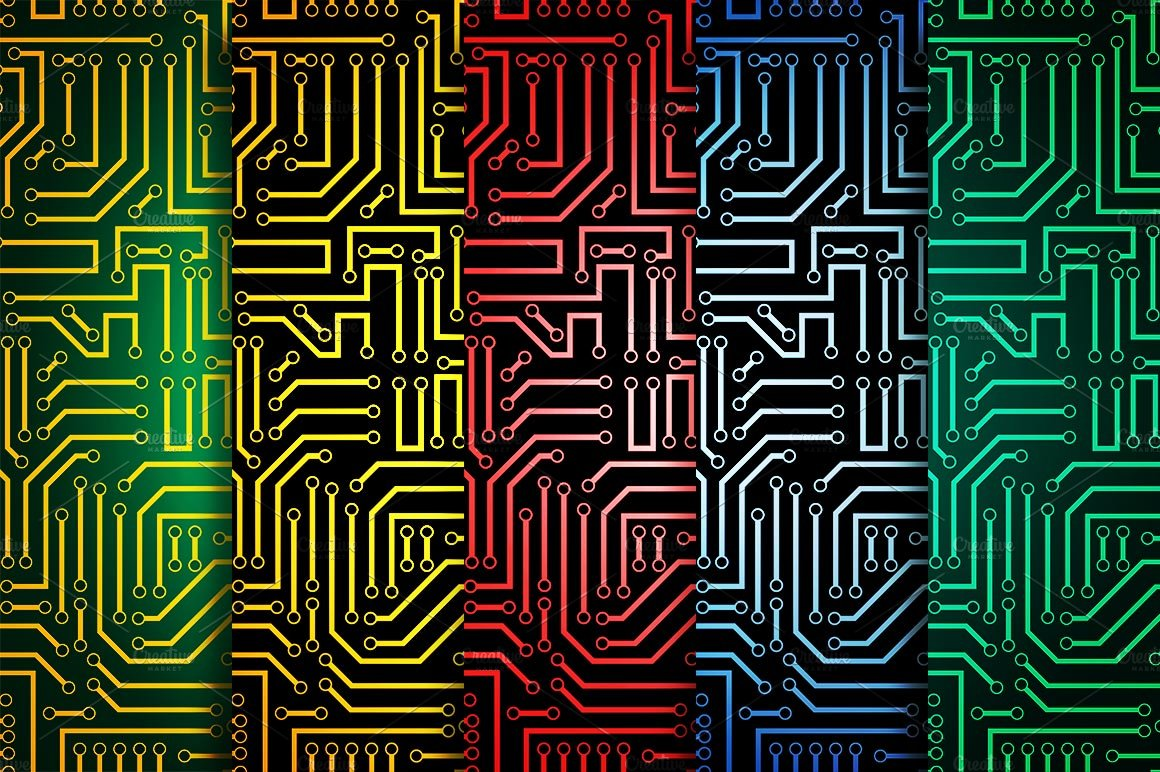 Circuit Board Seamless Patterns Set Graphic Creative Market Electric Processor Tshirts