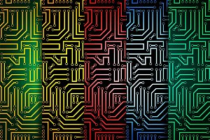 Circuit board seamless patterns set
