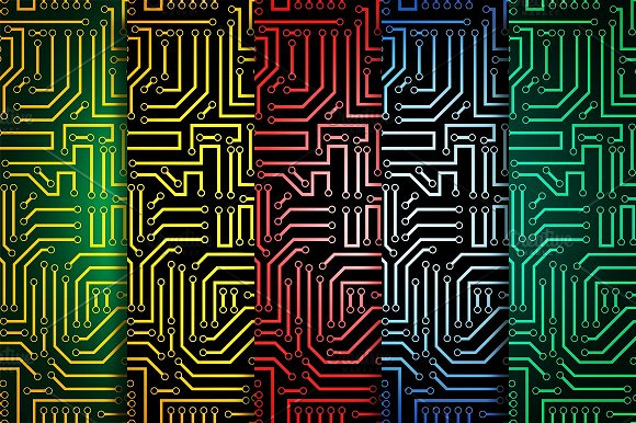 Circuit board seamless patterns set ~ Graphic Patterns ~ Creative Market