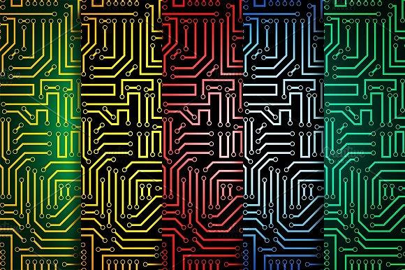 Circuit board seamless patterns set ~ Patterns ~ Creative Market