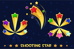 Cartoon different shooting colored stars