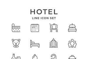Set line icons of hotel