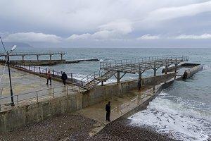 Seacost in bad rainy weather. Crimea