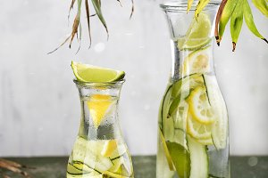 cold homemade lemonade with cucumber