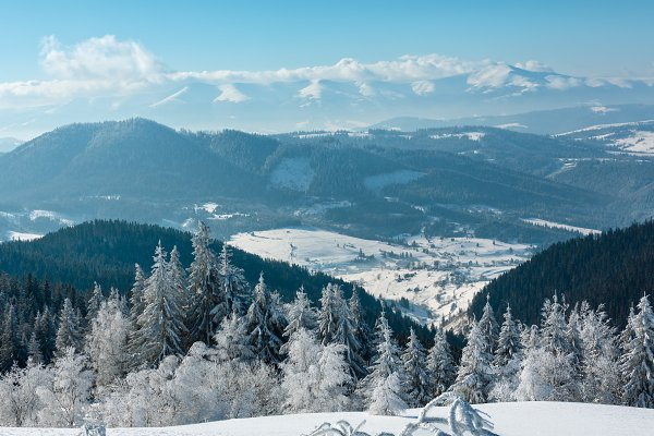 Stock Photos: YuriyB - Winter Carpathian mountain, Ukraine