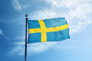 Sweden flag on the mast
