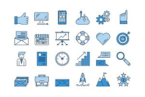 01 Blue BUSINESS icons set