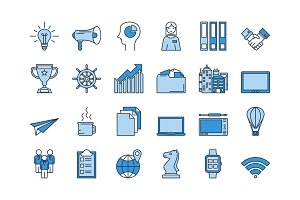 02 Blue BUSINESS icons set
