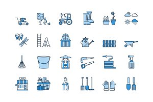 06 Blue linear GARDENING icons set