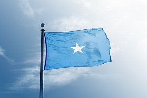 Somalia flag on the mast