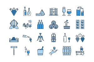 04 Blue WINE PRODUCTION icon set