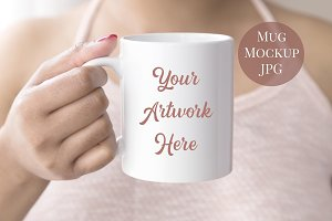 Mug Mockup - woman wearing tank top